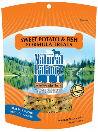 NATURAL BALANCE L.I.D. - FISH & SW POTATO 14 OZ TREATS