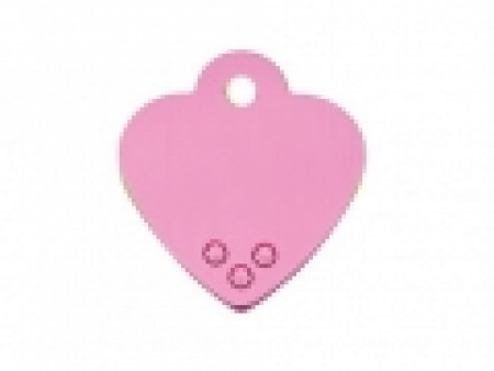 PET TAG WITH STONES – SMALL PINK HEART TAG W/ PINK STONES