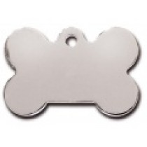 PET TAG – TWO SIDED PLAIN – LARGE BONE CHROMED BRASS