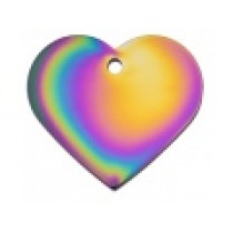 PET TAG – TWO SIDED PLAIN – LARGE HEART RAINBOW
