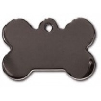 PET TAG – TWO SIDED PLAIN – LARGE BONE SMOKEY BLACK – TITM