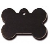 PET TAG – TWO SIDED PLAIN – LARGE BONE BLACK