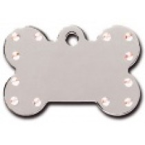 PET TAG WITH STONES – LARGE BONE CHROME-7PP-AURORA